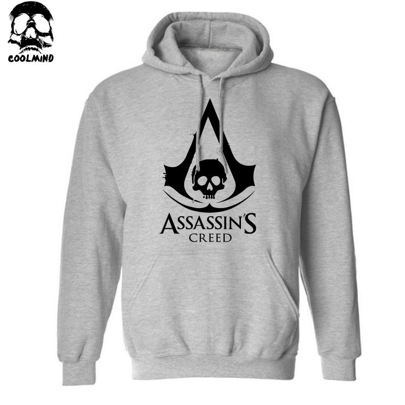 assassins creed hoodie for men printing men Hoodies with hat fleece casual loose hoodie men