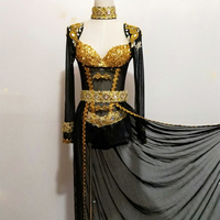Сценическая одежда для выпускного вечера, сексуальные наряды со стразами черного и золотого цвета, дизайнерские вечерние платья, диджей пе