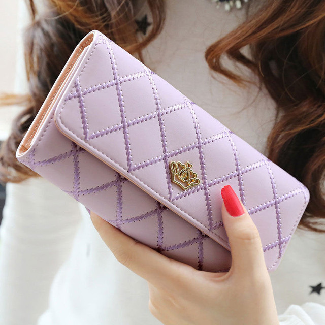 Women Wallet Clutch Bag Vintage Crown Wallets Girls ID Card Holder Embellishment Plaid Purse Phone Case Money Bag 4
