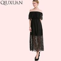 QIUXUAN Plus Size Jacquard Lace Yoke Off Shoulder Dress Fashion Solid Color Flounced Dress Scallop Edge Women Maxi Dress
