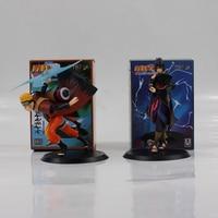 2pcs/lot 17cm Hot Anime Naruto Uzumaki Naruto Uchiha Sasuke PVC Action Figure Model Toy for children gift