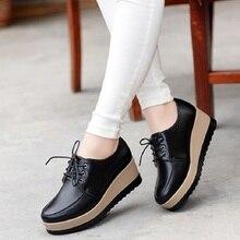 Женская обувь на высоком каблуке; коллекция года; женская повседневная обувь из натуральной кожи; дышащая модная водонепроницаемая обувь на танкетке; женские кроссовки