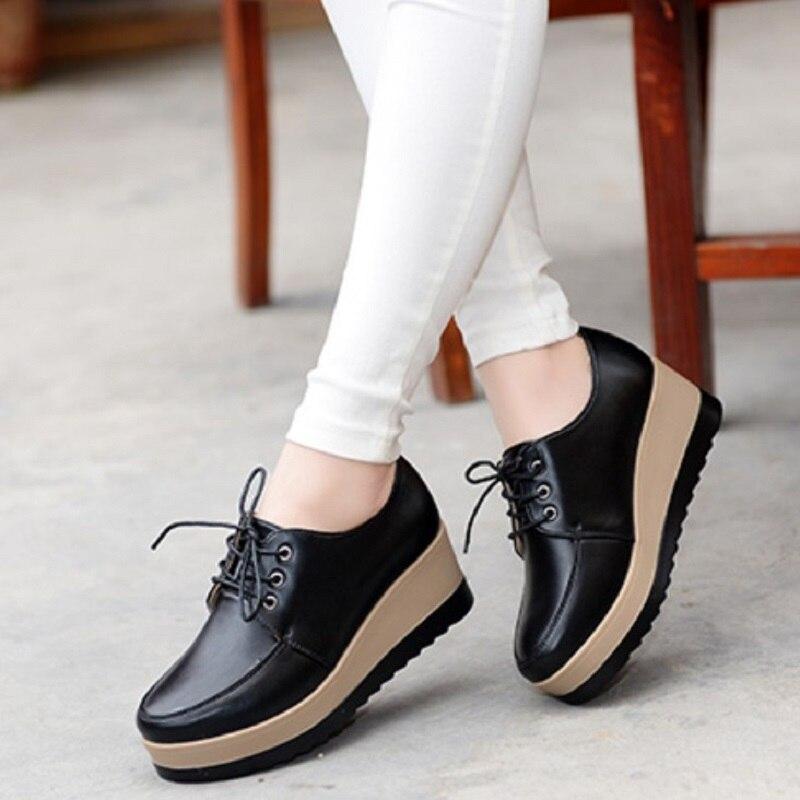 High Heel Women Shoes 2018 Women Genuine Leather Casual Shoes Breathable Fashion Waterproof Wedges Platform Shoes Women Sneaker skechers women s ez flex 2 chilly fashion sneaker