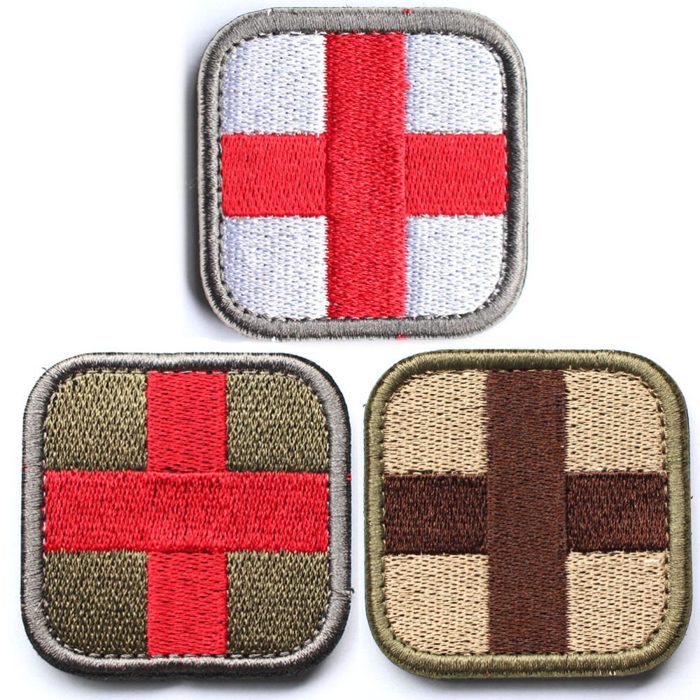 50 Pcs Cross Medical Patch Morale Tactical Patches Hook & Loop Embroidery Badge Military Army Armband Badge 2.5*2.5cm Wholesale Music Memorabilia Entertainment Memorabilia