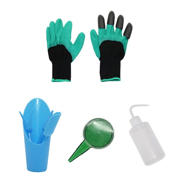 Us 5 95 33 Off Plastic Garden Hand Tool Kit Succulent Transplanters Watering Diffuser Gloves Mini Seeder 1 Set In Nursery Trays