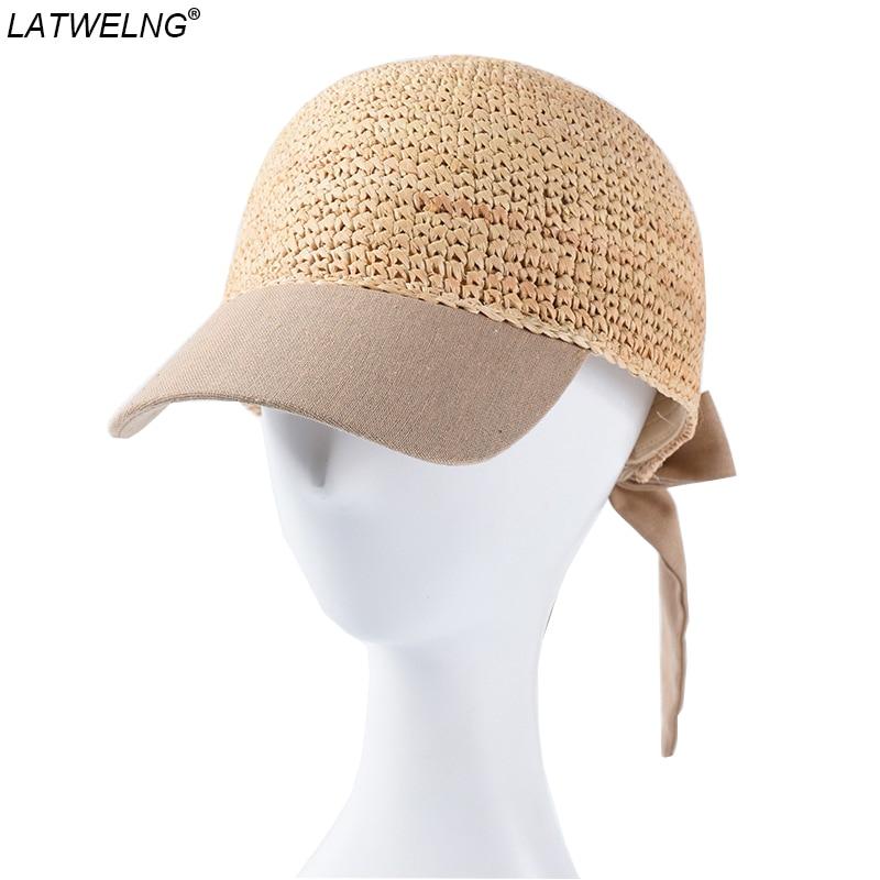 Ladies Sun Visor Hat Women Sun Visor Straw Raffia Velcro Caps Adjustable Straw Hat