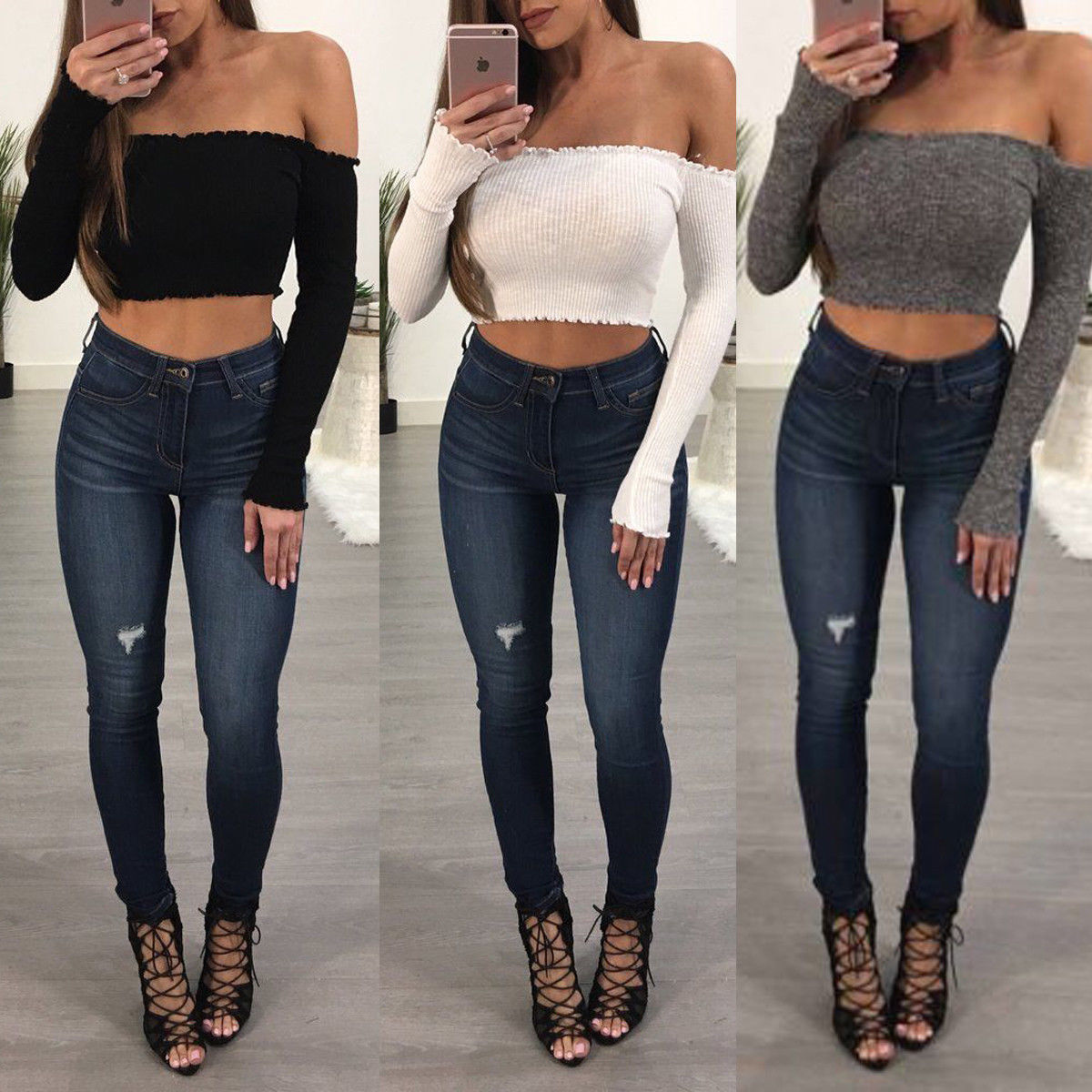New Women Ladies Fashion Casual T Shirt Off Shoulder Long Sleeve Solid T Shirt Tees Top Party Clubwear