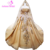 2018 Half Sleeves Bride Wedding Gown New Pregnant Gold Lace Flowers Dress WITH Veils Princess Dream Luxury Wedding Dress
