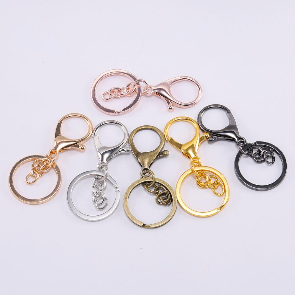 10PCS DIY Key Rings Key Chain Jewelry Findings Lobster Clasp Keyring Making VQ