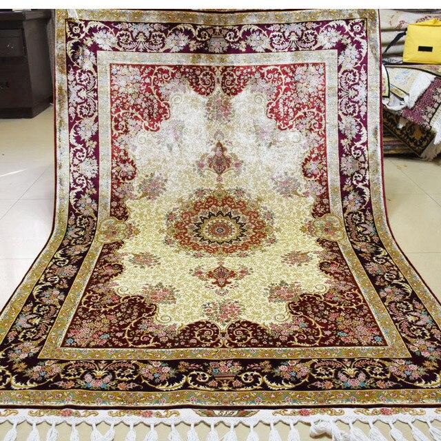 Affordable Mingxin Teppich Xft Beige Und Rote Blume Handgewebte Seide Teppich  Teppiche Persische Kunst With Teppich Handgewebt