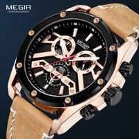 ساعات كوارتز MEGIR للرجال 24 ساعة كرونوغراف ساعة يد رجالية ماركة فاخرة ساعة رجالية ساعة رجالية جلدية 2120 باللون الوردي
