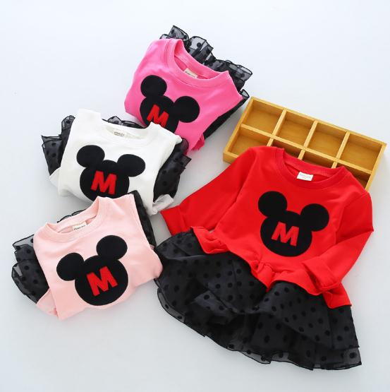 Girls Dress 2017 New Autumn Cartoon Style Girls Clothes Long Sleeve Cartoon mickey for Kids Dresses 3-7Y cartoon airplane style red