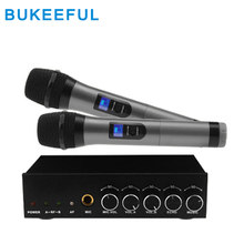 Portable Wireless Family Home Karaoke Echo System Singing Microphone Box Player USB Audio Bluetooth Wireless Microphone System(China)