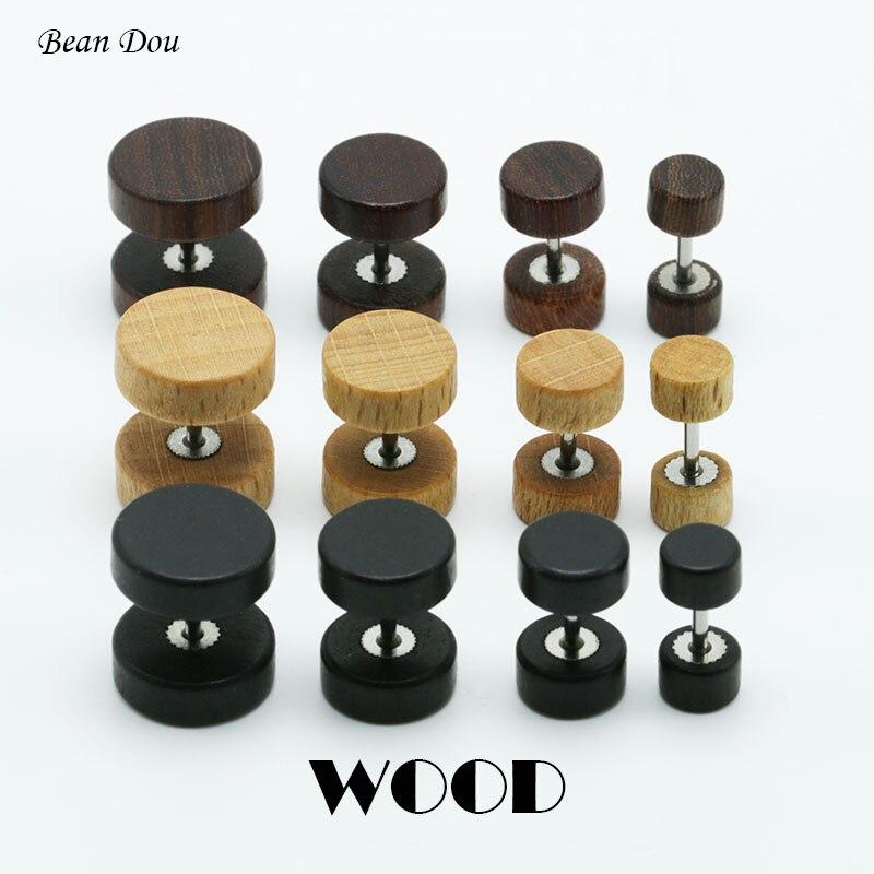 Brincos de madeira marrom e preto, 1 par de brincos com fecho de orelha, natural, 6mm, 8mm, 10mm, 12mm, punk fecho de ouvido falso brincos para homens e mulheres