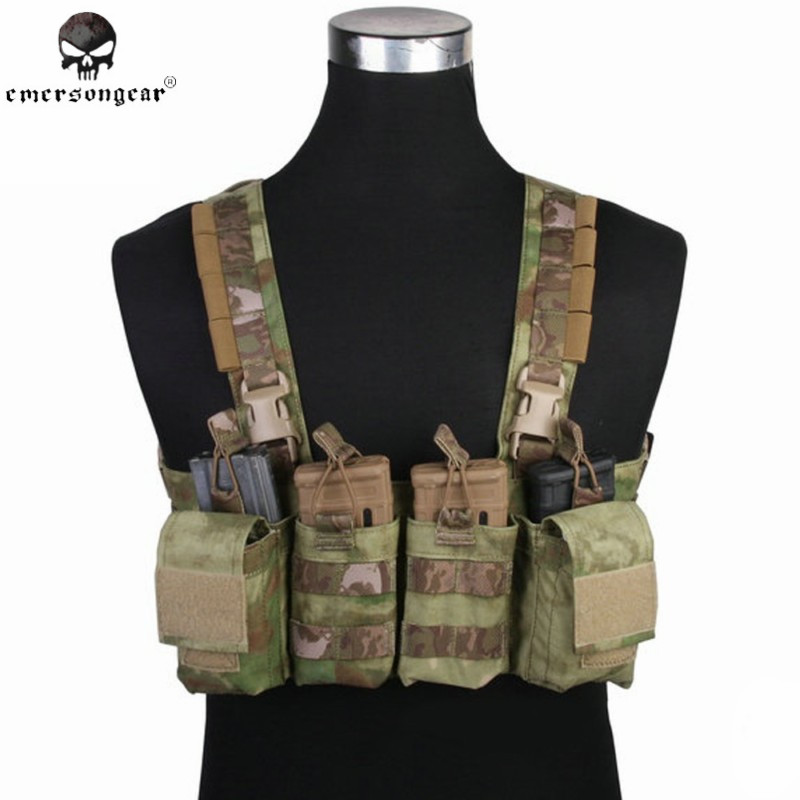 Emerson Easy Chest Rig Vest MOLLE Camouflage Hunting Paintball Vest Airsoft Military Combat Gear Mag Ammo Carrier EM7450 AT-FG mag 200 в киеве