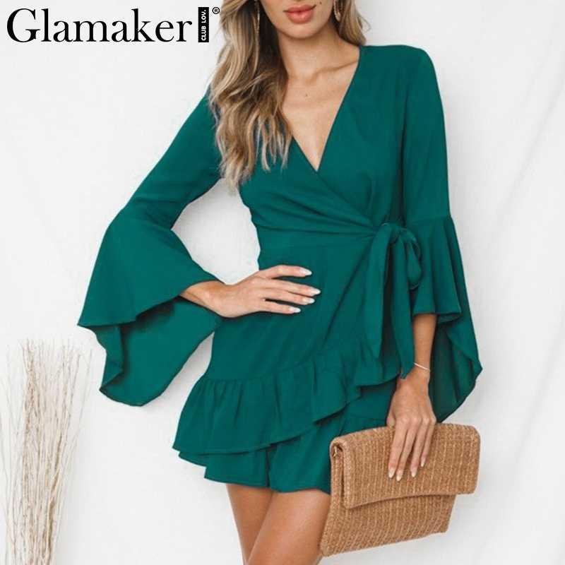 Glamaker Ruffle sash cyan cardigan sexy váy Phụ Nữ dài flare tay áo màu đen mùa hè ăn mặc Bãi Biển đảng ngắn sundress vestidos new