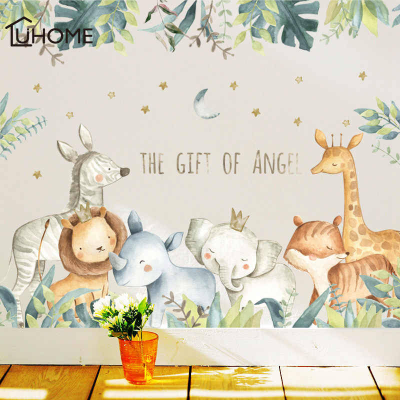 Cartoon Wall Stickers for Kids Rooms Giraffe Lion Fox Elephant Animal Home Decals Nursery Kindergarten Baby Room Home Decor