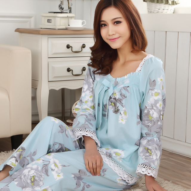 Summer and Autumn Women Pajamas Woven Floral 100% Cotton Long-Sleeved Tracksuit Set Thin Funds Sleepwear Pajamas Sets