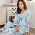 Verão e Outono Mulheres Pijama Floral Tecido 100% Algodão Longo-Fundos de Mangas Compridas Treino Definir Fina Sleepwear Conjuntos de Pijama