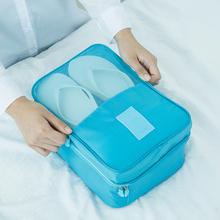 Wygodne torby podróżne składane nylonowe torby na buty do podróży walizki buty pudełka etui przenośne wodoodporne torby podróżne tanie tanio Akcesoria podróżnicze Stałe Pakowanie organizatorzy Oxford Nylon storage travel bags 6 colors Square Folding Storage Bags