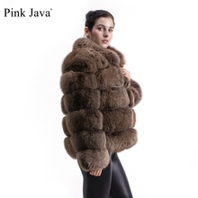 ורוד Java QC8139 חדש הגעה נשים החורף עבה פרווה מעיל אמיתי שועל פרווה מעיל באיכות גבוהה שועל מעיל צווארון עומד תלבושת יוקרה
