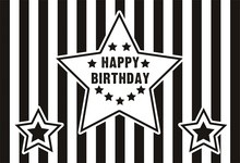 Laeacco Black White Stripes Star Happy Baby Birthday Party Poster Banner Photo Background Photography Backdrops For Studio