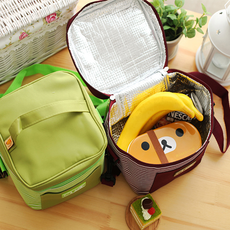 QZH Oxford Thermal Lunch Bags For Women Men Food Lunch Picnic Cooler Stripe Bag Storage Container Bottle Bag Kids School