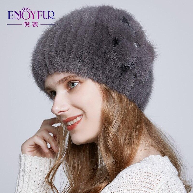 ENJOYFUR visón Real mujeres sombreros de invierno mujer Rhinestone Faux cuero visón decoración flor Beanies caliente de punto gorros