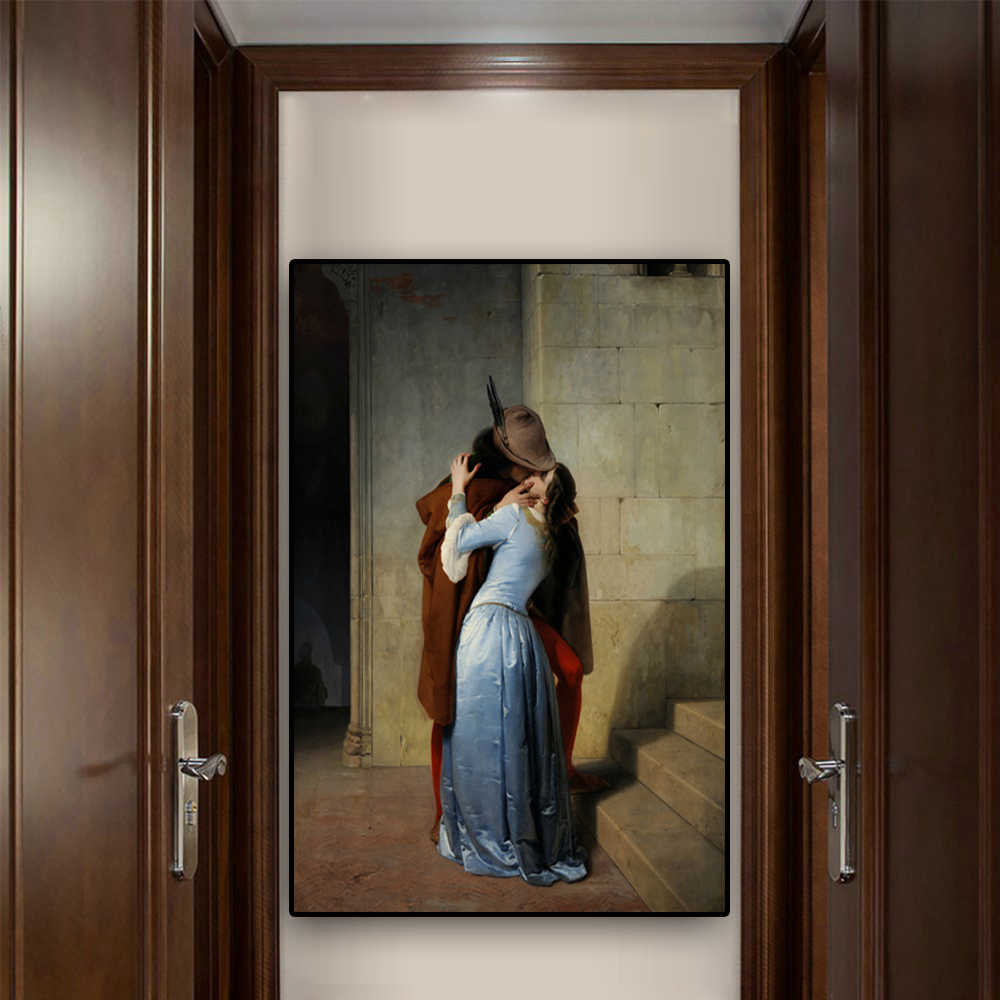The Kiss by Francesco Hayez Oil Painting on Canvas Portrait Posters and Prints Scandinavian Pop Art Wall Picture for Living Room