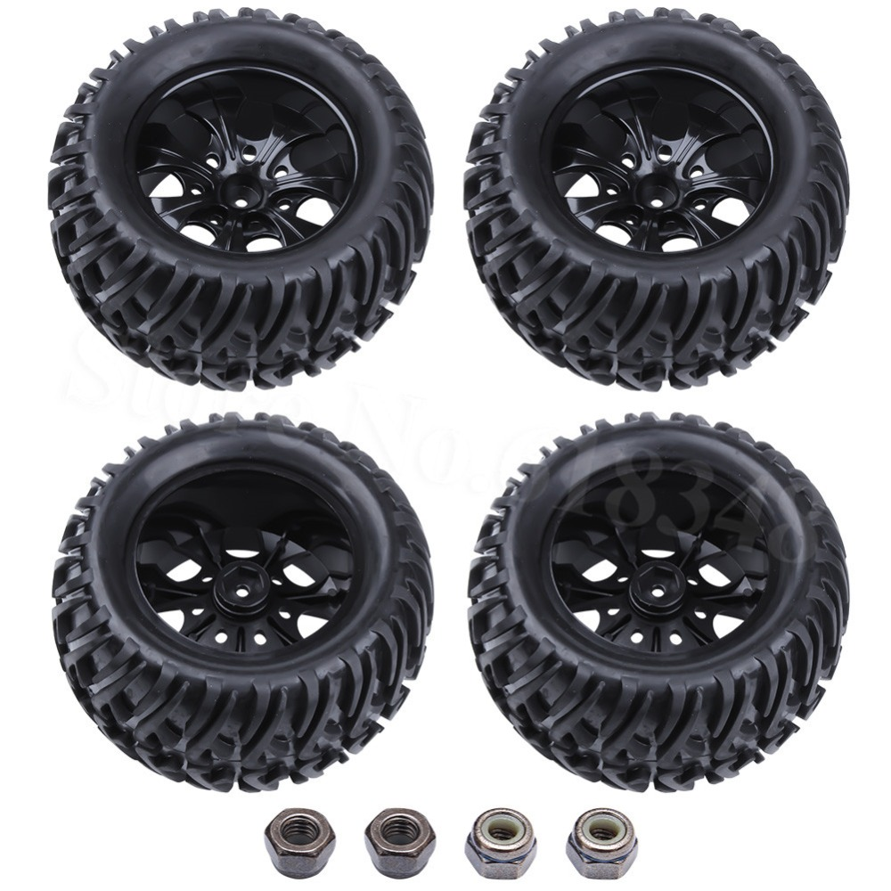4pcs RC Truck Tires & Wheels Hex:12mm For 1/10 Off Road HSP Monster Tyrannosaurus Redcat Volcano S30 Nitro Power 94108 94188