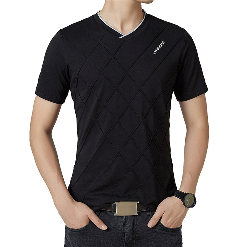 BROWON Brand Summer Casual   T     Shirt   Men Short Sleeve V-neck Elastic Rhombic Pattern Men Clothes 2018