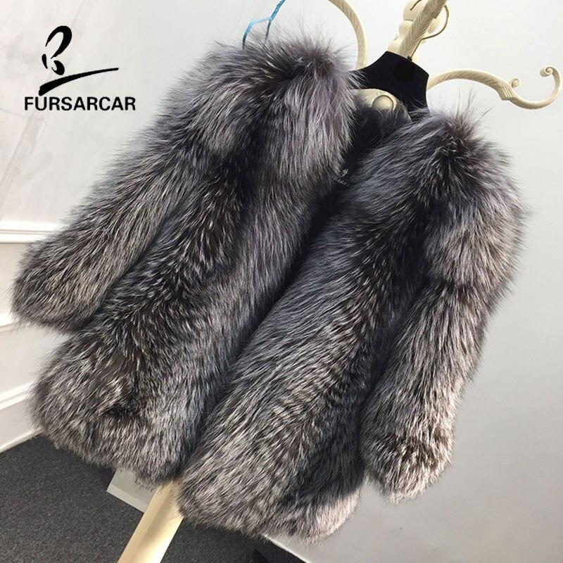 FURSARCAR 2018 Nuovo Reale Cappotto di Pelliccia Naturale Cappotti di Pelliccia Delle Donne Inverno Caldo Silver Fox Giacca di Pelliccia 60 cm Lungo Genuino cappotto di Pelliccia del cuoio