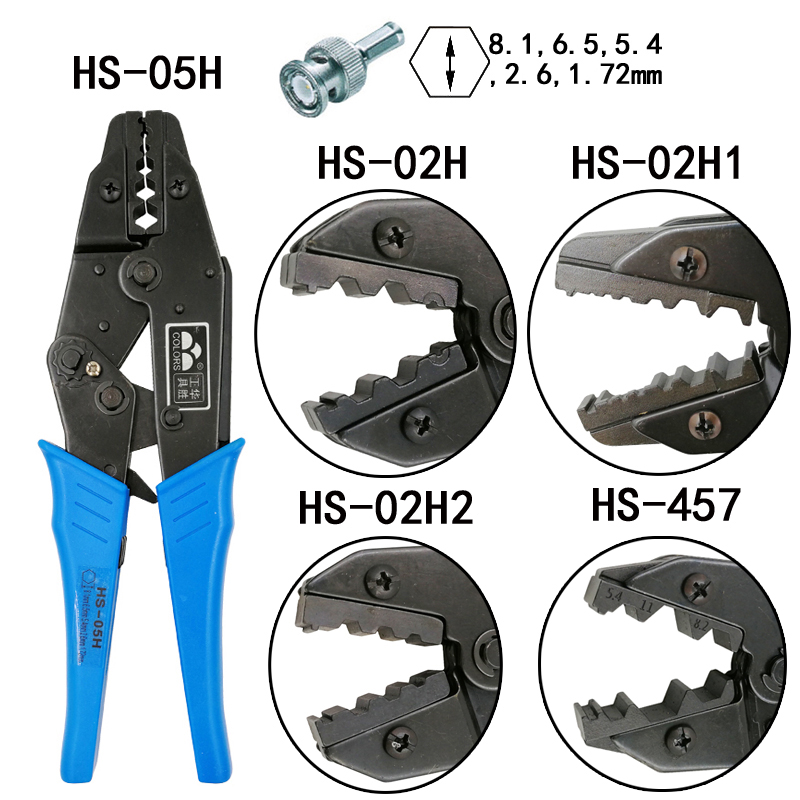 HS-05H/02 h/457 alicate de friso coaxial rg55 rg58 rg59, 62, relden 8279,8281, 9231,9141 coaxial crimper sma/bnc conectores ferramentas