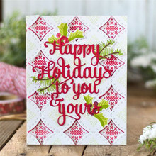 Naifumodo Letter Dies Alphabet Metal Cutting Happy Holiday to You&Yours Scrapbooking Card Making Crafts Cut Die Paper