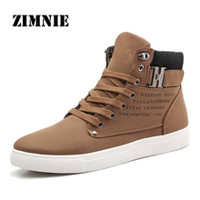 ZIMNIE 2017 Hot Men Shoes Fashion Warm Fur Winter Men Boots Autumn Leather Footwear For Man New High Top Canvas Casual Shoes Men