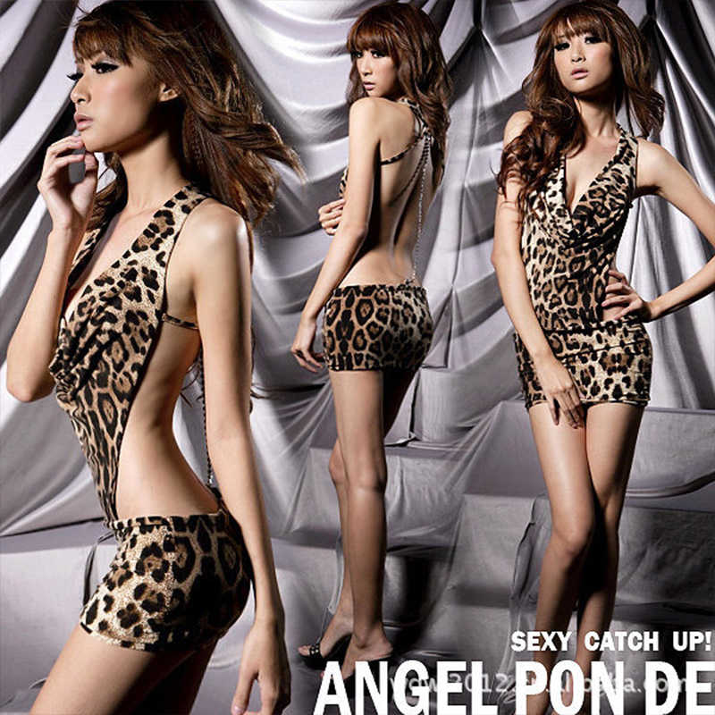 New Sexy Leopard Backless Printed Lingerie Dress Exotic Set Sleepwear,Underwear ,Uniform ,Kimono Costume Exotic Apparel