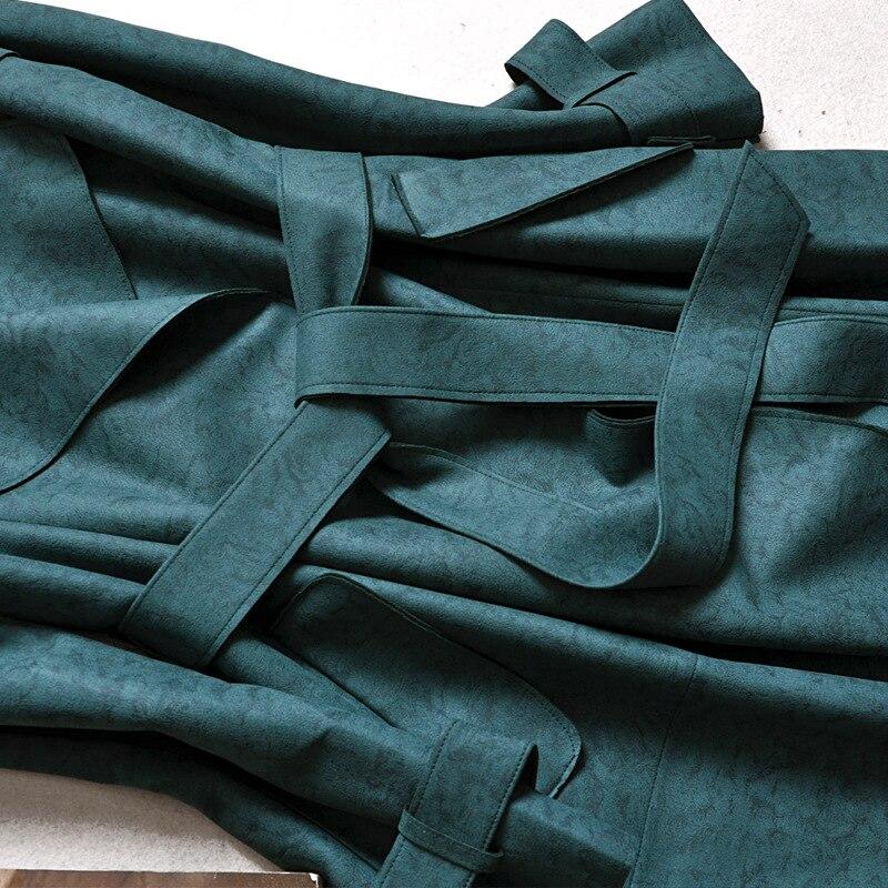 Pink Trench coat female 2018 New Plus size Elegant Solid Long Cardigan trench coats Slim windbreaker trincheira casaco feminino