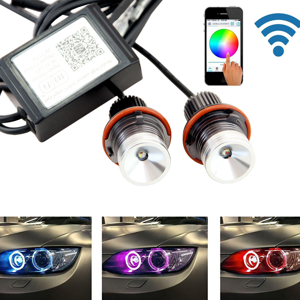 2pcs/pair Wifi control 12W cree chip LED Marker Angel Eyes RGB Halo Ring Light for BMW E39 M5 E87 E60 E63 E64 E65 E66 X3 X5 E53