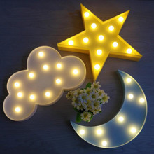 NEW 3D Marquee LED Wall Lamp Night Light Sky Cloud Star Moon Kid Sleep Lighting Bedroom House Decoration RC Girl Gift Indoor