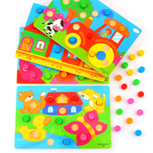 Colour Cognition Board Montessori Lasten koulutuspuhelimet Puinen lelu Jigsaw Early Learning Color Match Game