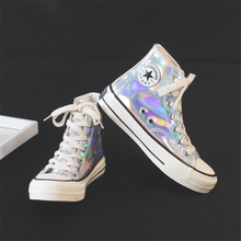 High Quality white Women sneakers Canvas Shoes girl Reflective color High Top Flats Women Vulcanized Shoes Female Casual Shoes недорого