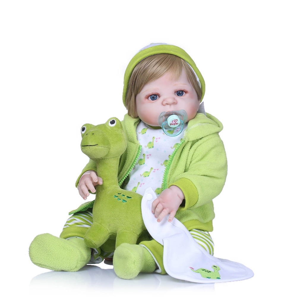 NPK 55cm Full Silicone Body Reborn Baby Doll Toy Realistic Newborn Princess Girls Babies Doll Kid Brinquedos Bathe Toys Gifts