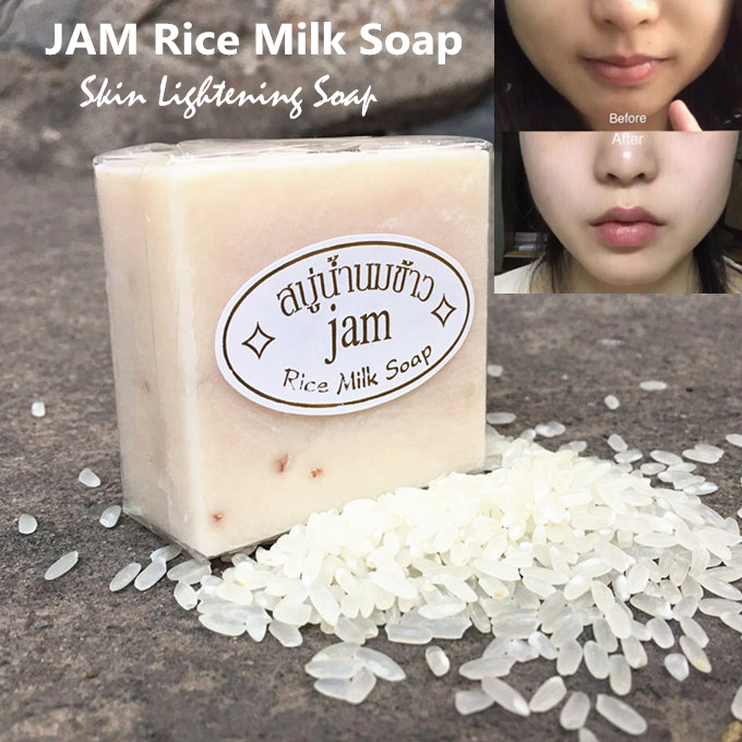 Hand Soap Thailand Jasmine Rice Handmade Collagen Vitamin Skin Whitening Bathing Tool Rice Milk Soap Bleaching Agents Acne Soap