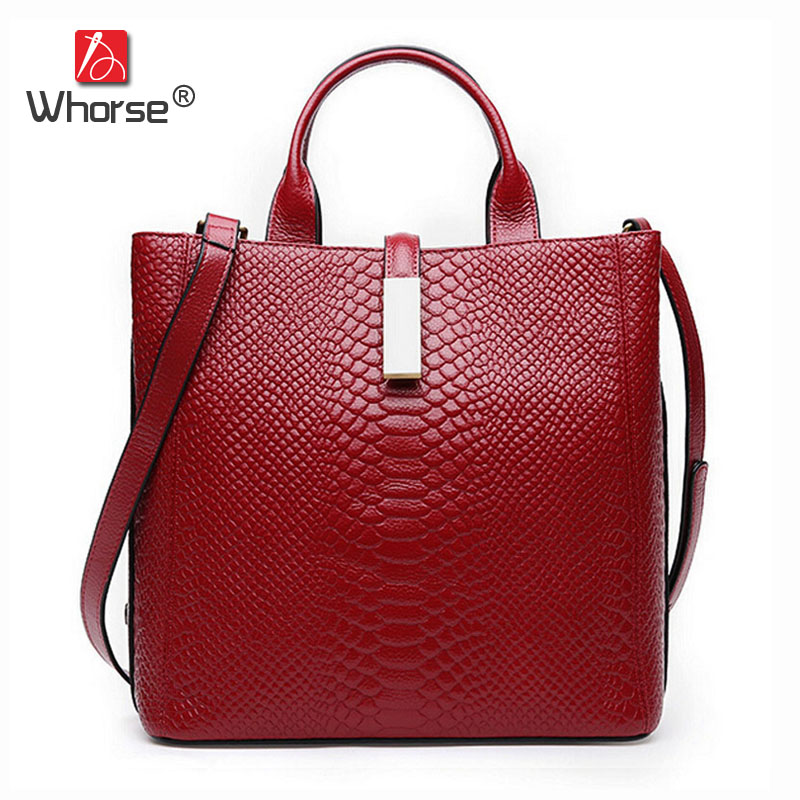 [WHORSE] Brand Crocodile Bag Women Genuine Leather Designer Handbags High Quality Woman Handbag Messenger Bags Cowhide W08750 [whorse] brand luxury fashion designer genuine leather bucket bag women real cowhide handbag messenger bags casual tote w07190