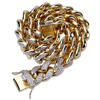 18mm HipHop Men Jewelry Necklace Copper Iced Out Gold Color Plated Micro Pave CZ Stone Chain Necklaces 18inch 22inch JUNLU