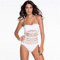 White Blue New One Piece Lace Swimsuit 2017 Swimwear Women Push Up Monokini Solid Bodysuit Set