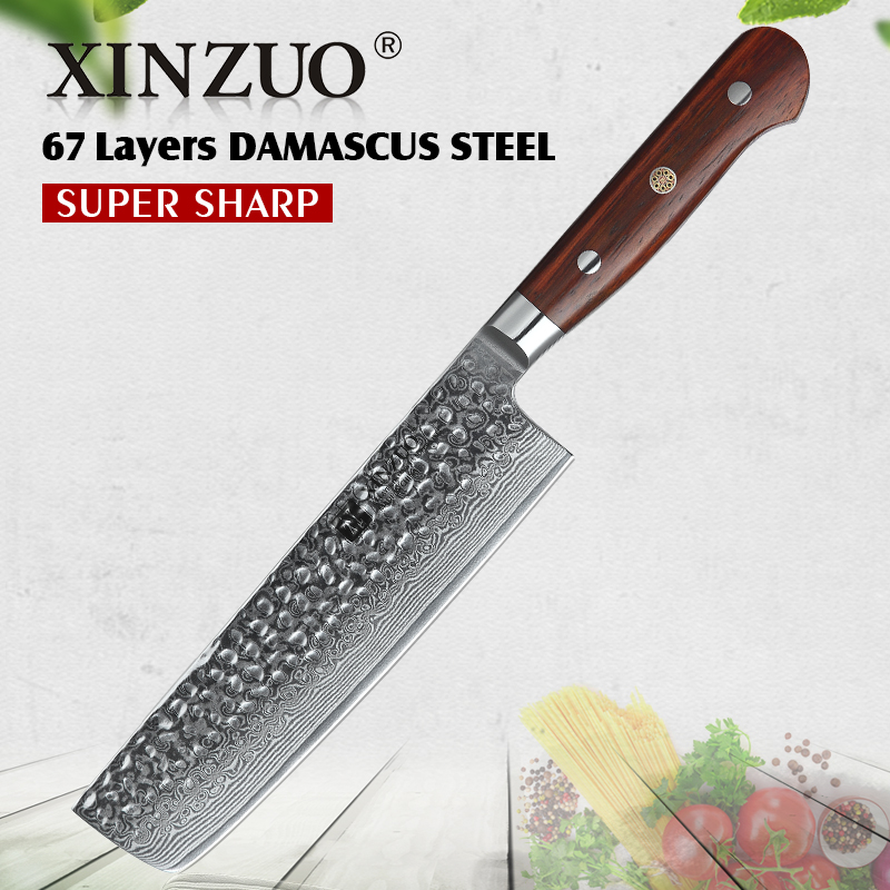 XINZUO 7 inch Nakiri Knife 67 layer Damascus Steel Kitchen Knife Chinese Chef Butcher Knives Rosewood
