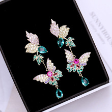 Ruifan Europe Fashion Butterfly Shape Colorful Women Earrings Korean Waterdrop Cubic Zircon Rhinestone Drop Earring YEA327