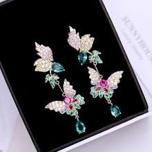 цены на Ruifan Europe Fashion Butterfly Shape Colorful Women Earrings Korean Waterdrop Cubic Zircon Rhinestone Drop Earring YEA327  в интернет-магазинах