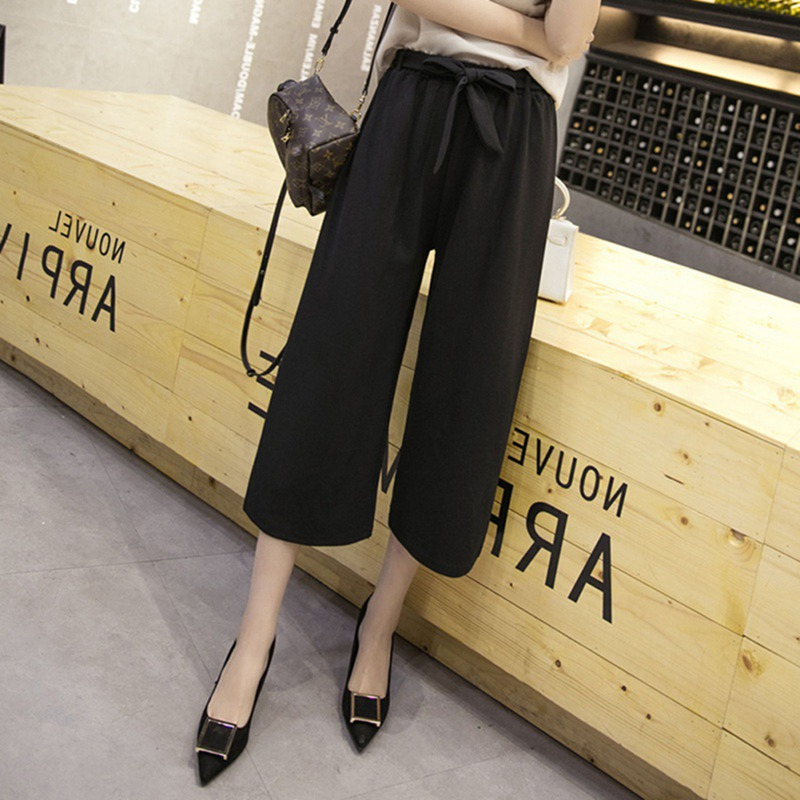 Women Elastic Waist   Wide     Leg     Pants   Straight Casual Loose Black Trousers